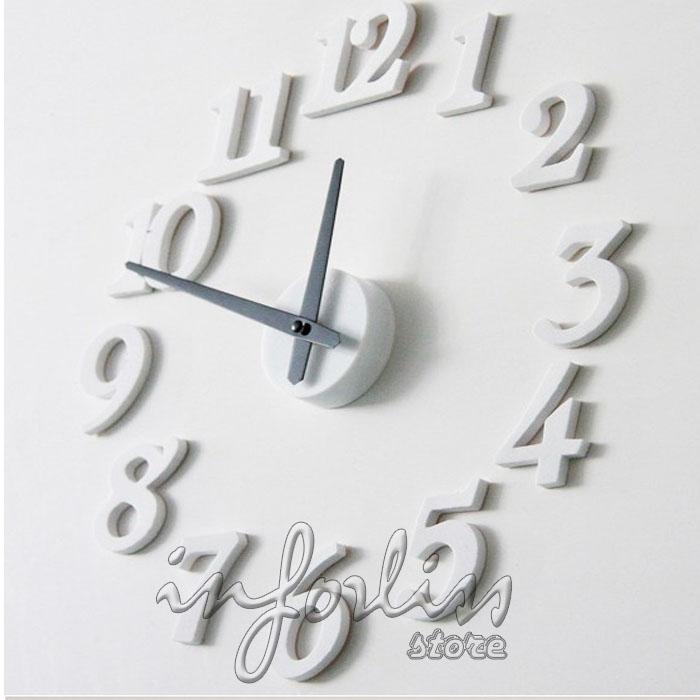 Reloj adhesivo decorativo para la pared en color blanco ebay - Reloj pared adhesivo ...